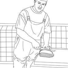 Dibujo para colorear carnicero cortando bistec - Dibujos para Colorear y Pintar - Dibujos para colorear PROFESIONES Y OFICIOS - Dibujos de CARNICERO para colorear