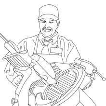 Dibujo para colorear del carnicero cortando lonchas de jamón - Dibujos para Colorear y Pintar - Dibujos para colorear PROFESIONES Y OFICIOS - Dibujos de CARNICERO para colorear