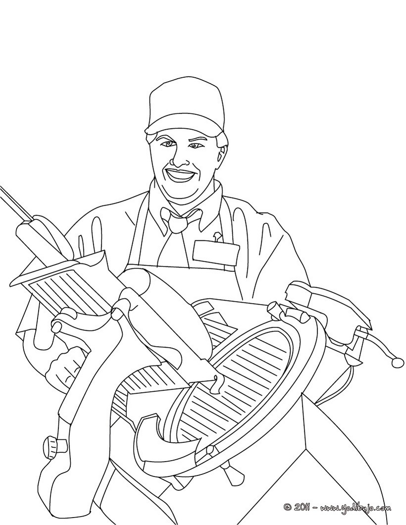 Dibujo para colorear : carnicero cortando lonchas de jamón
