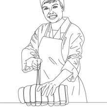 Dibujo para colorear el carnicero atando una pieza de carne - Dibujos para Colorear y Pintar - Dibujos para colorear PROFESIONES Y OFICIOS - Dibujos de CARNICERO para colorear