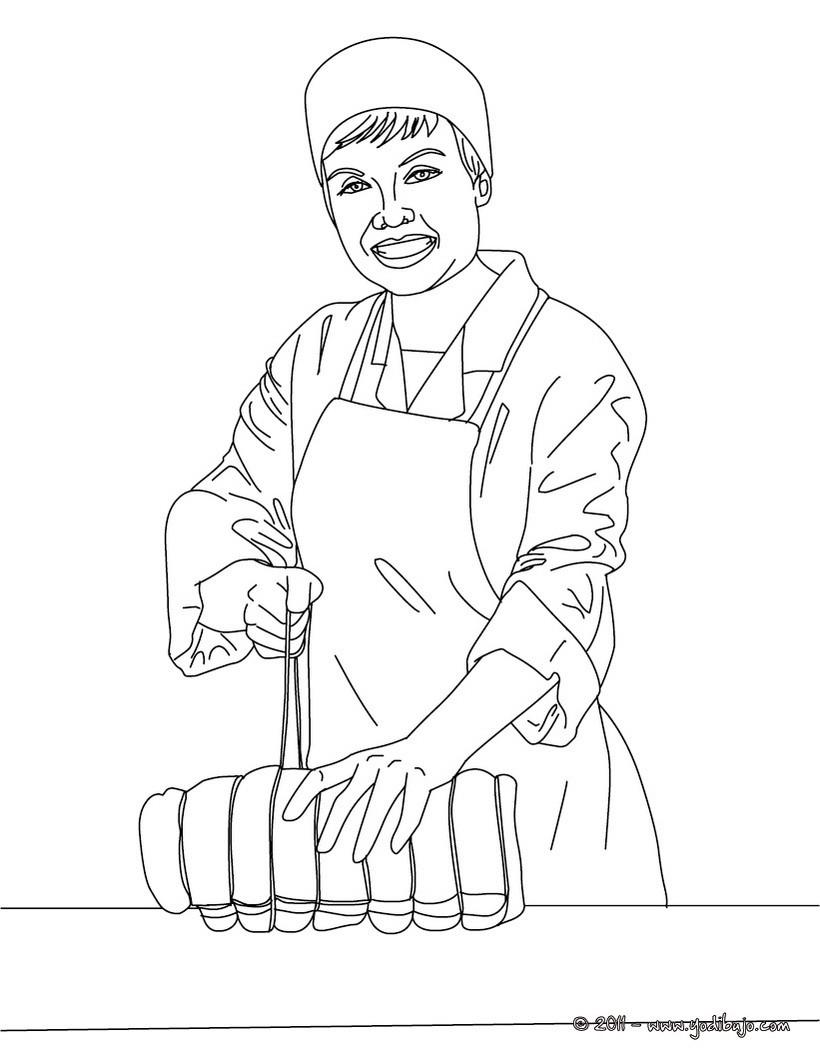 Dibujo para colorear : el carnicero atando una pieza de carne