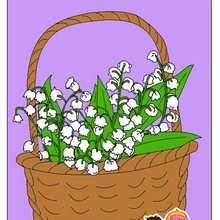 Ilustración : dibujo infantil de cesta de flores para el dia de la madre