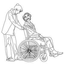 Dibujo para colorear de una enfermera con una paciente - Dibujos para Colorear y Pintar - Dibujos para colorear PROFESIONES Y OFICIOS - Dibujos de ENFERMERA para colorear