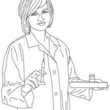 dibujo de una enfermera preparando una inyección para colorear - Dibujos para Colorear y Pintar - Dibujos para colorear PROFESIONES Y OFICIOS - Dibujos de ENFERMERA para colorear