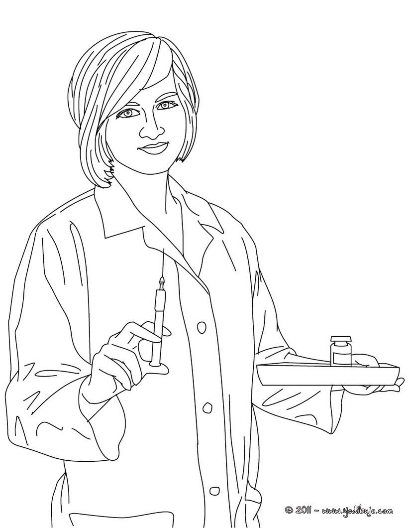 Dibujo para colorear : una enfermera preparando una inyección