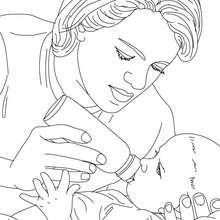 Dibujo de una enfermera puericultora para colorear - Dibujos para Colorear y Pintar - Dibujos para colorear PROFESIONES Y OFICIOS - Dibujos de ENFERMERA para colorear
