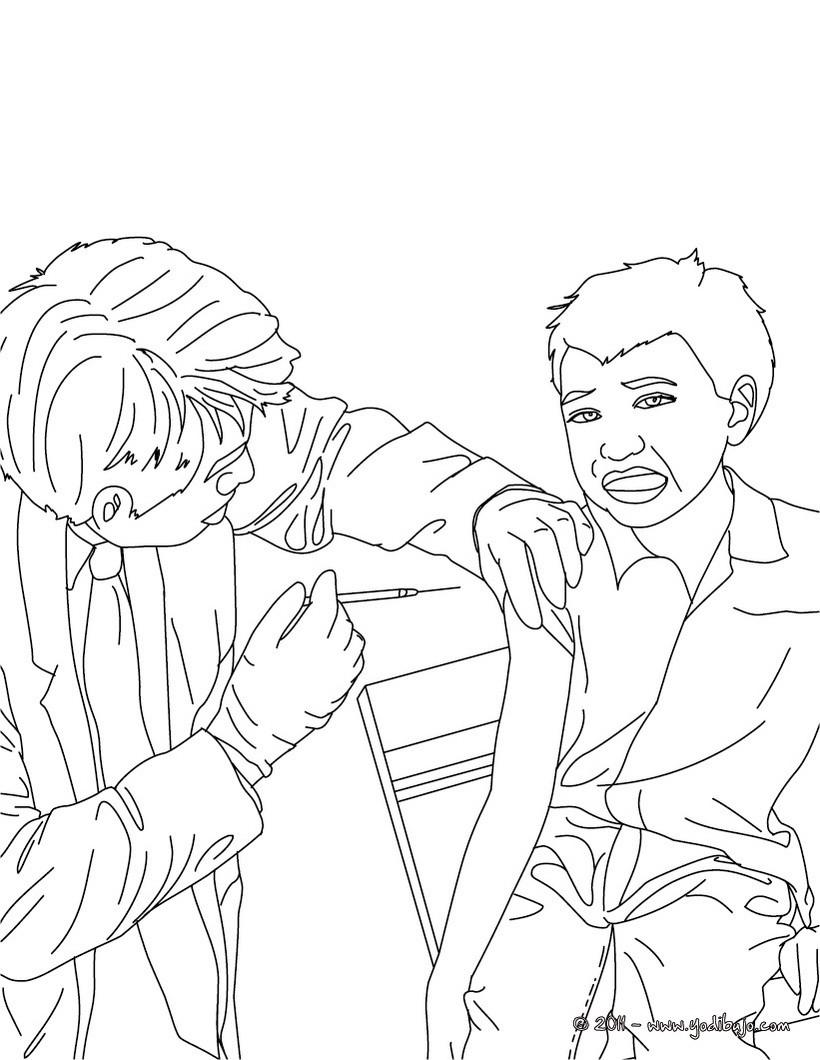 Dibujo para colorear : un enfermero haciendo una inyección a un niño