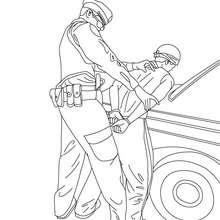 Dibujo de un policia arrestando un ladron para colorear - Dibujos para Colorear y Pintar - Dibujos para colorear PROFESIONES Y OFICIOS - Dibujos de POLICIA para colorear
