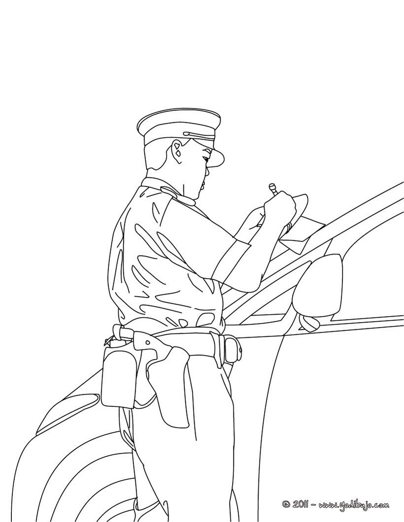 Dibujo para colorear : un policia efectuando un control