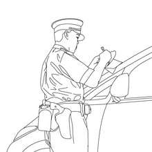 Dibujo para colorear un policia efectuando un control - Dibujos para Colorear y Pintar - Dibujos para colorear PROFESIONES Y OFICIOS - Dibujos de POLICIA para colorear