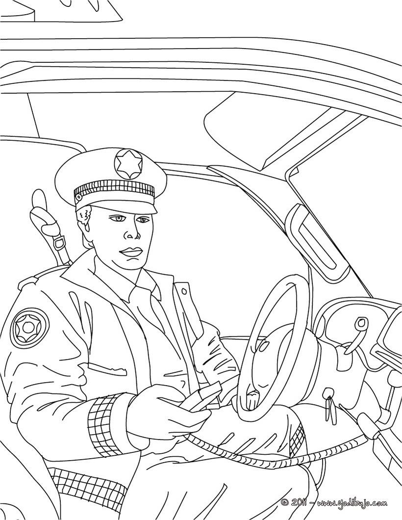 ... de un policia en la comisaria para colorear Dibujo para colorear de un