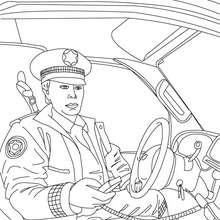 Dibujo de un policia en su coche para colorear - Dibujos para Colorear y Pintar - Dibujos para colorear PROFESIONES Y OFICIOS - Dibujos de POLICIA para colorear