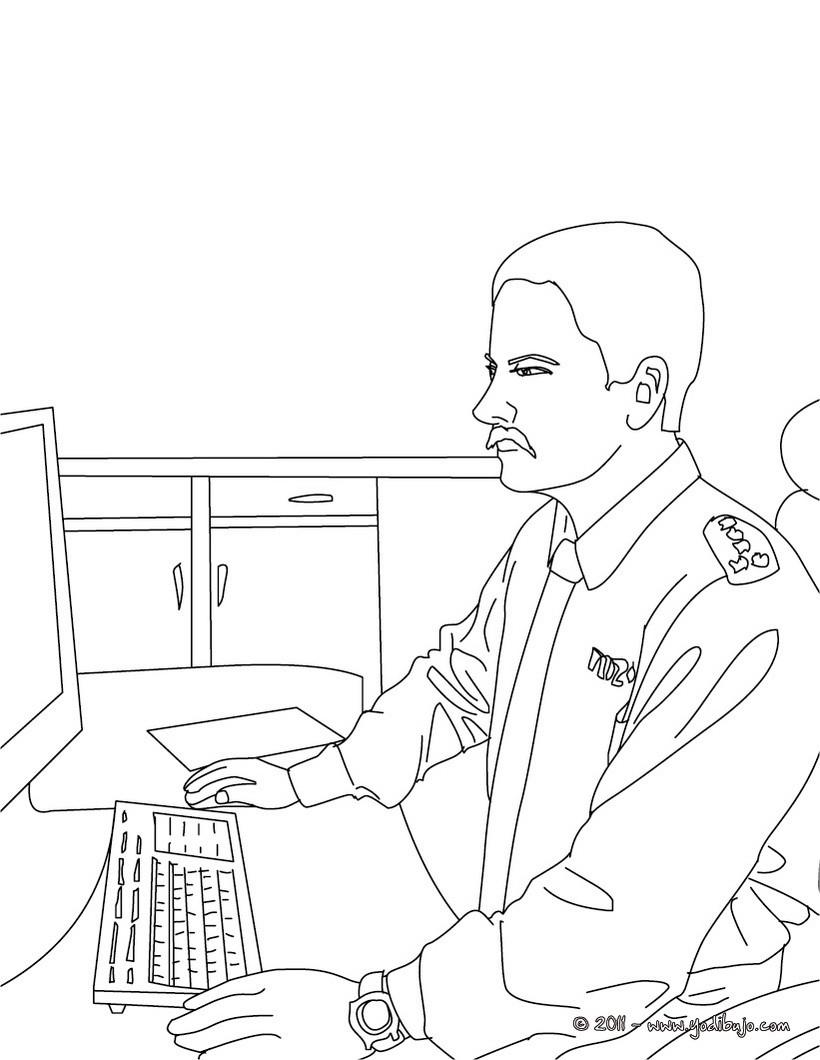 ... en la comisaria para colorear - Dibujos de POLICIA para colorear