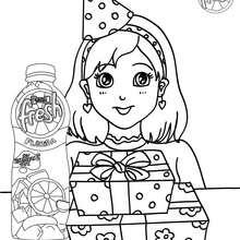 Dibujo para colorear fiesta con PASCUAL FRESH - Dibujos para Colorear y Pintar - Dibujos para colorear FIESTAS - Dibujos para colorear PASCUAL FRESH