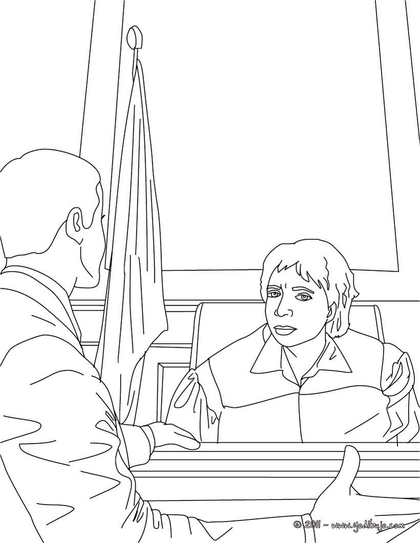 Dibujo para colorear : un abogado y un juez