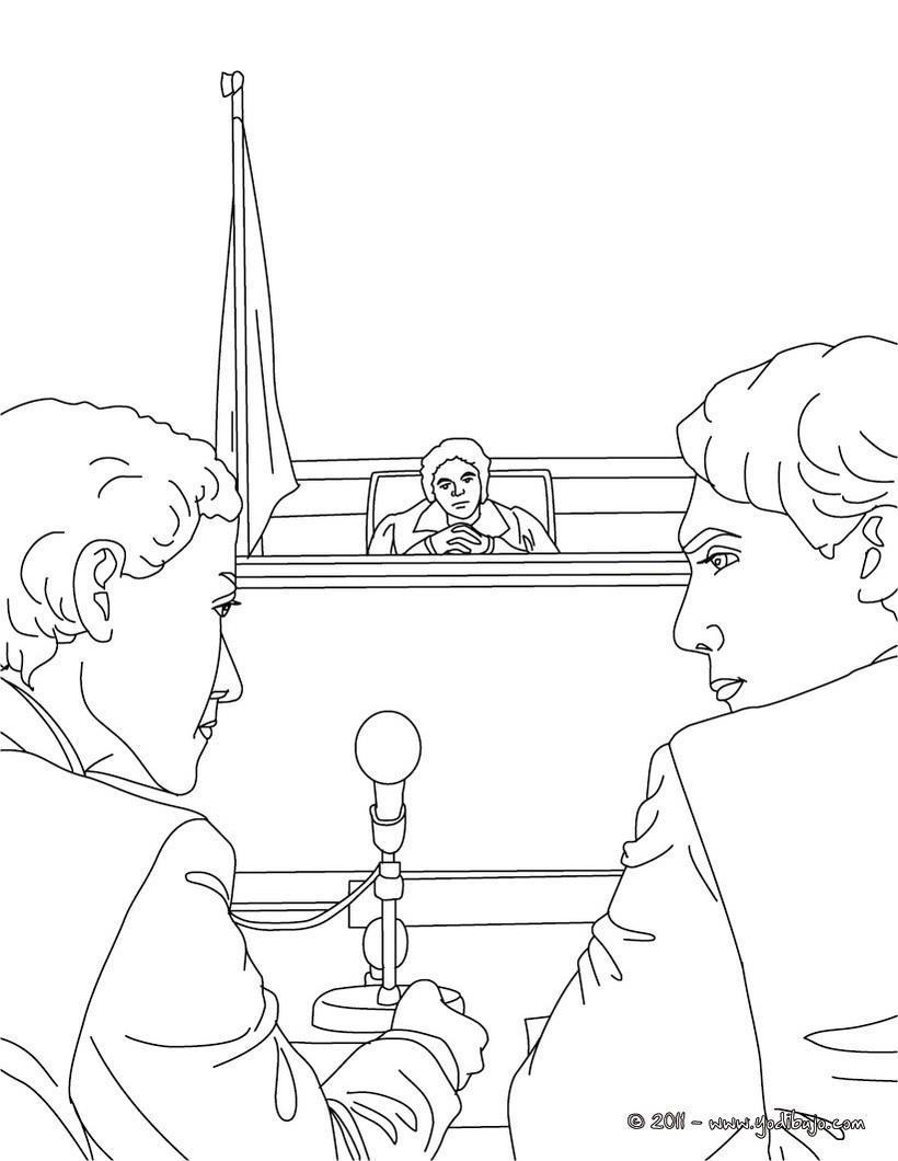 Dibujos para colorear abogado con su cliente - es.hellokids.com