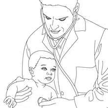 Dibujo de un pediatra para colorear - Dibujos para Colorear y Pintar - Dibujos para colorear PROFESIONES Y OFICIOS - Dibujos de MEDICO para colorear