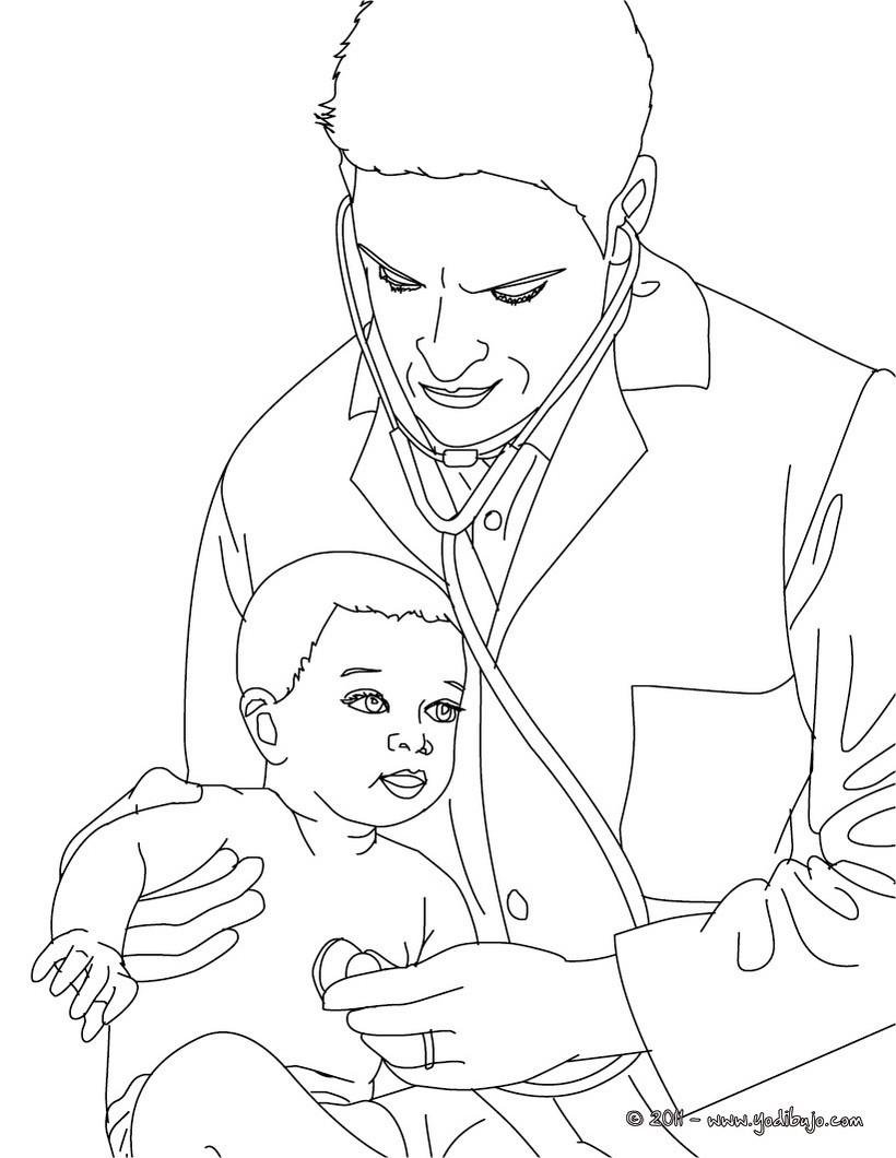 Dibujo para colorear : un pediatra