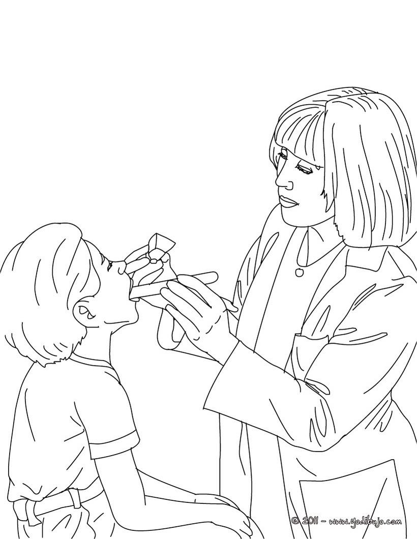 Dibujos para colorear medico oscultando a un niño - es.hellokids.com