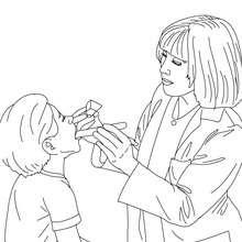 Dibujo para colorear de medico oscultando a un niño - Dibujos para Colorear y Pintar - Dibujos para colorear PROFESIONES Y OFICIOS - Dibujos de MEDICO para colorear