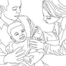 Dibujo de un medico vacunando a un niño - Dibujos para Colorear y Pintar - Dibujos para colorear PROFESIONES Y OFICIOS - Dibujos de MEDICO para colorear