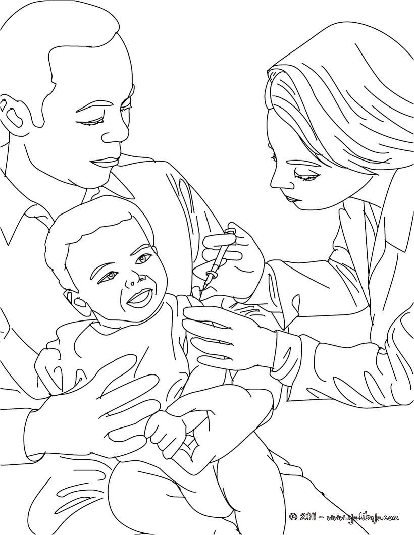 Dibujo para colorear : un medico vacunando a un niño