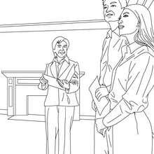 Dibujo para colorear : un agente inmobiliario visitando una casa con clientes