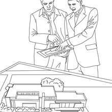 Dibujo de un agente inmobiliario estudiando una maqueta de construcciñon inmobiliaria - Dibujos para Colorear y Pintar - Dibujos para colorear PROFESIONES Y OFICIOS - Dibujos de AGENTE INMOBILIARIO para colorear