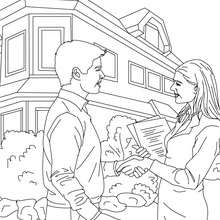 Dibujo para colorear de un agente inmobiliario cerranod un contrato de compra con un cliente - Dibujos para Colorear y Pintar - Dibujos para colorear PROFESIONES Y OFICIOS - Dibujos de AGENTE INMOBILIARIO para colorear