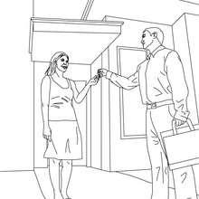 Dibujo para colorear de un agente inmobiliario dando las llaves de la casa a un cliente - Dibujos para Colorear y Pintar - Dibujos para colorear PROFESIONES Y OFICIOS - Dibujos de AGENTE INMOBILIARIO para colorear