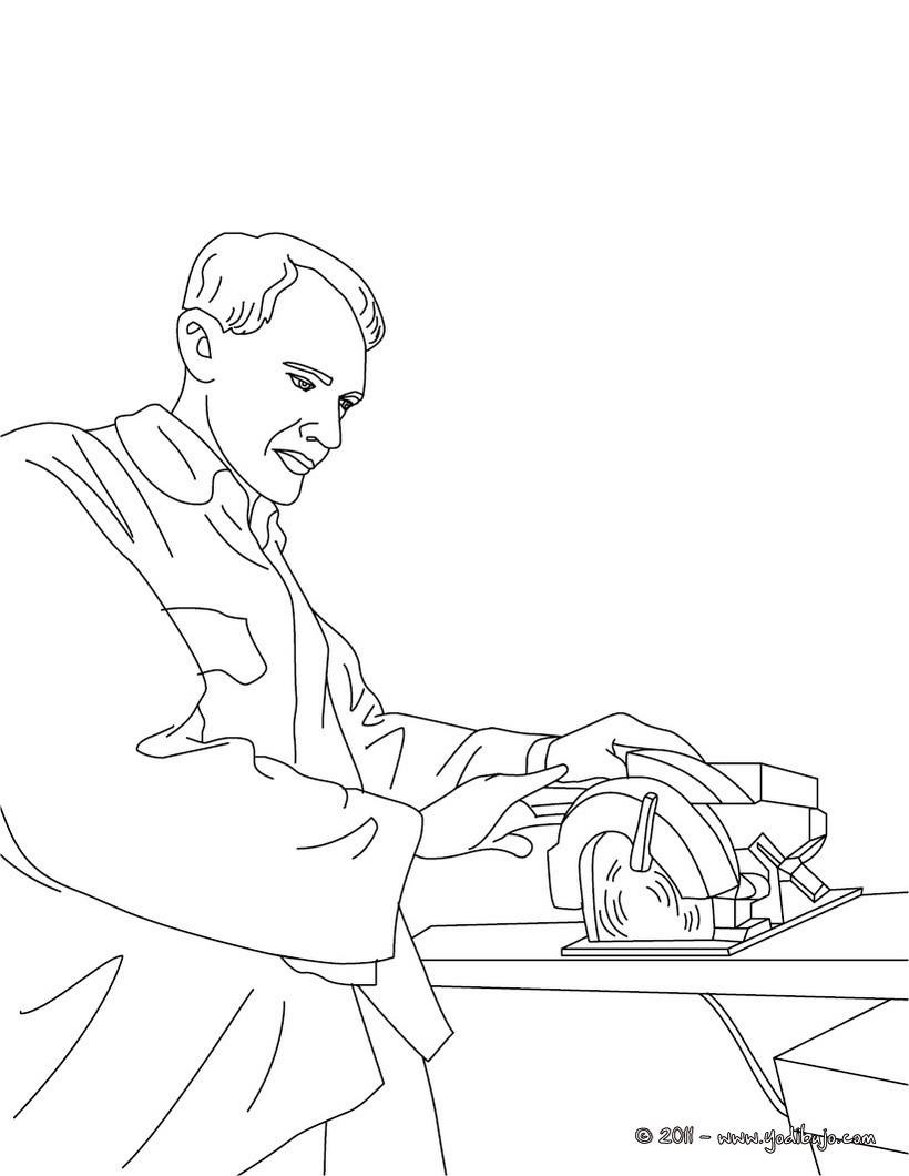 Dibujo para colorear : un carpintero