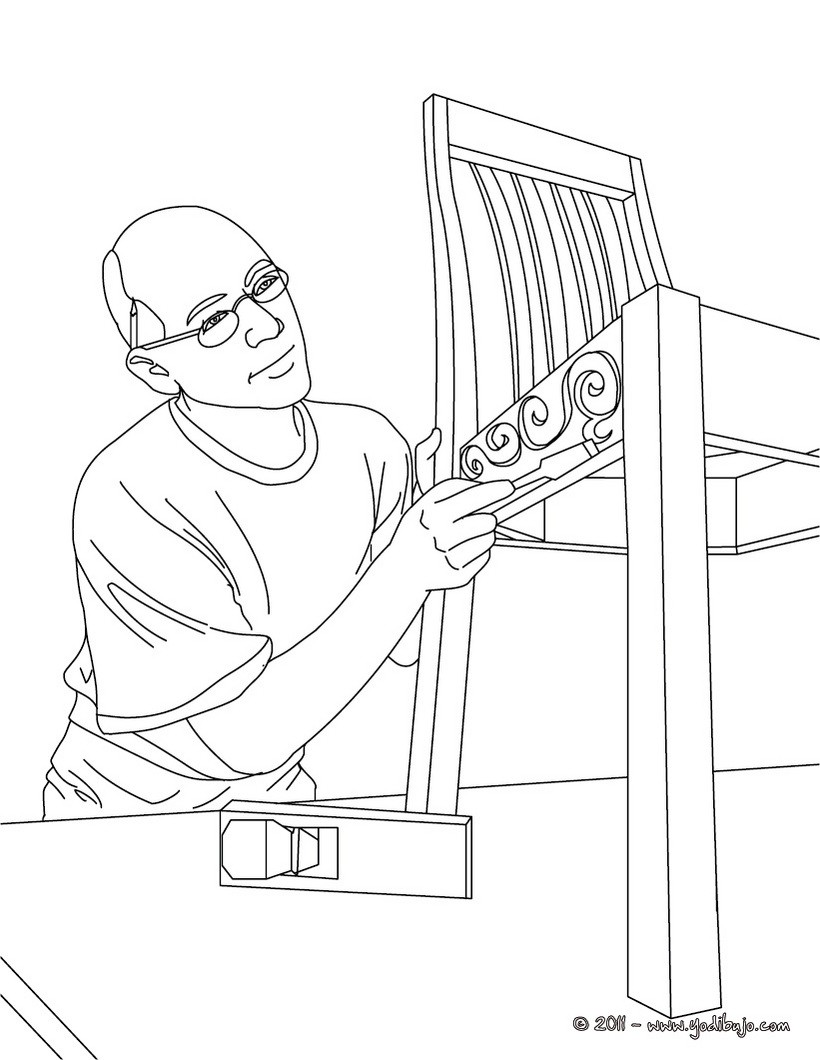 Dibujo para colorear : carpintero