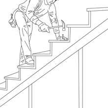 Dibujo para colorear un carpintero construyendo una escalera de madera - Dibujos para Colorear y Pintar - Dibujos para colorear PROFESIONES Y OFICIOS - Dibujo de CARPINTERO para colorear