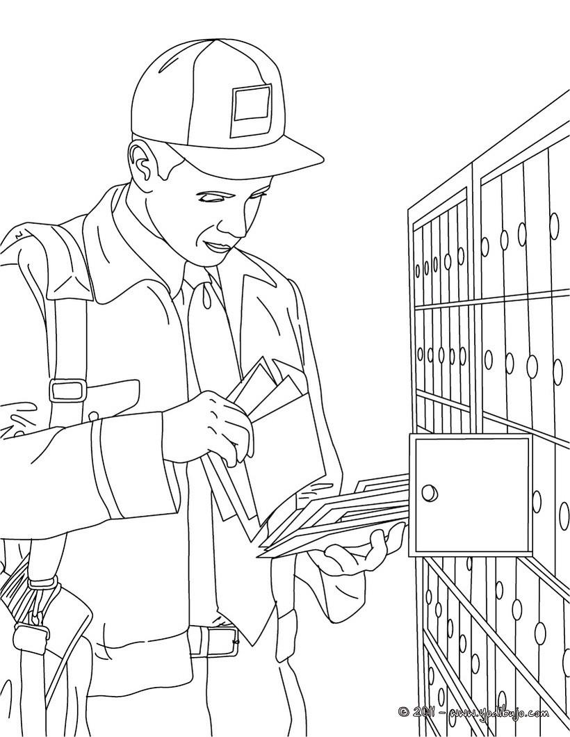 Dibujos para colorear cartero depositando el correo es for Oficina de correo postal