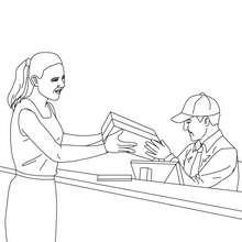 Dibujo de un cartero en la oficina de correos - Dibujos para Colorear y Pintar - Dibujos para colorear PROFESIONES Y OFICIOS - Dibujo de CARTERO para colorear