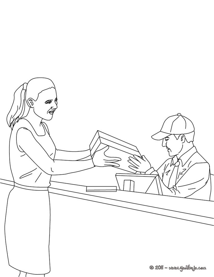 Dibujo para colorear : un cartero en la oficina de correos