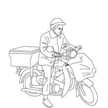 Dibujo del cartero en su moto para colorear - Dibujos para Colorear y Pintar - Dibujos para colorear PROFESIONES Y OFICIOS - Dibujo de CARTERO para colorear