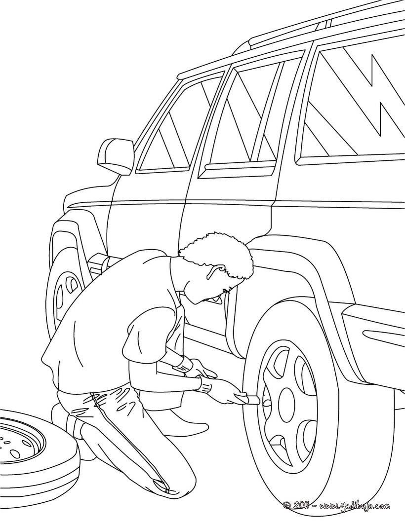 Dibujos para colorear un mecanico reparando el motor del coche - es ...