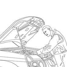 Dibujo de un mecanico reparando el motor del coche - Dibujos para Colorear y Pintar - Dibujos para colorear PROFESIONES Y OFICIOS - Dibujo de MECANICO para colorear
