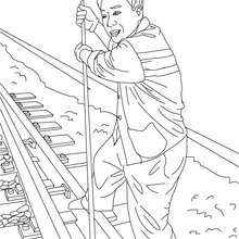 Dibujo para colorear de un ferroviario trabajando - Dibujos para Colorear y Pintar - Dibujos para colorear PROFESIONES Y OFICIOS - Dibujos TRABAJADORES DE FERROCARRIL para colorear