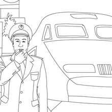 Dibujo del jefe de estación para colorear - Dibujos para Colorear y Pintar - Dibujos para colorear PROFESIONES Y OFICIOS - Dibujos TRABAJADORES DE FERROCARRIL para colorear