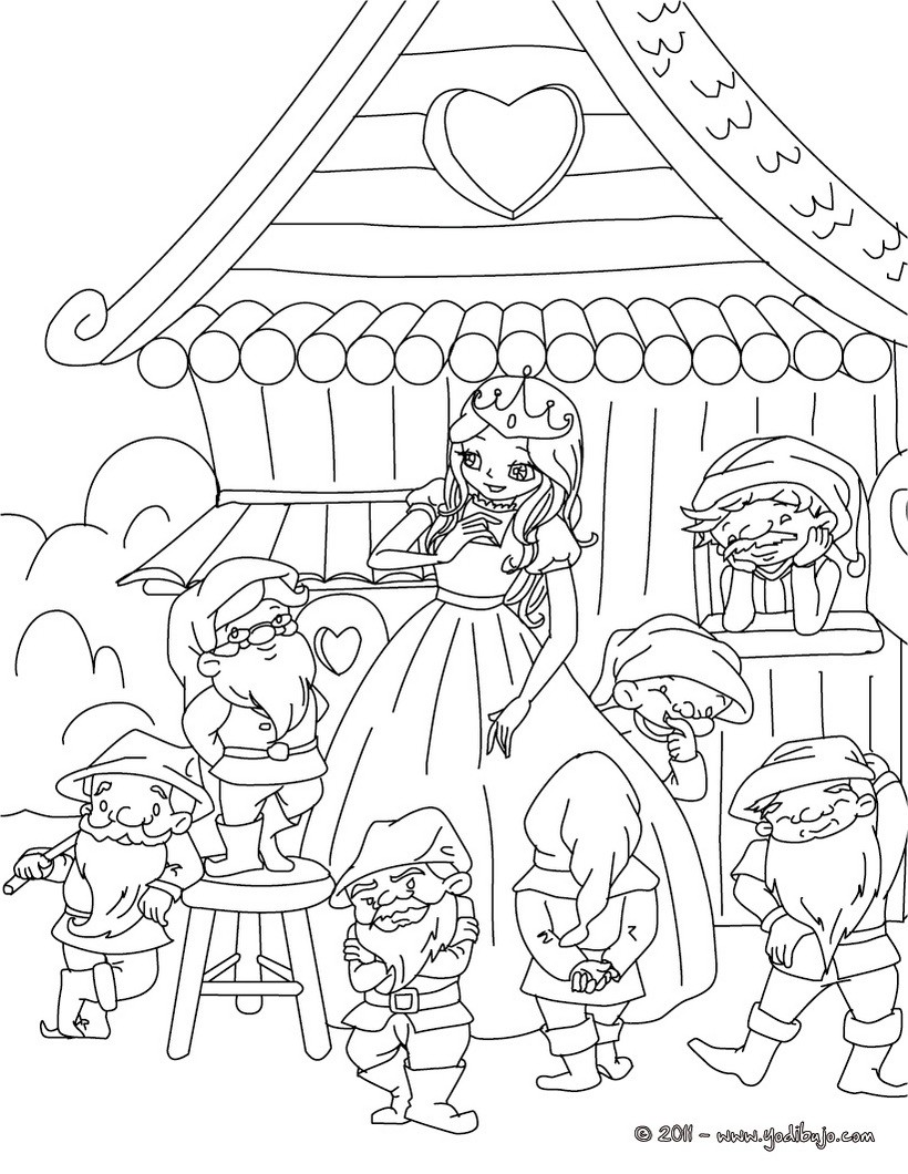 Dibujos para colorear blancanieves y los 7 enanos - es.hellokids.com