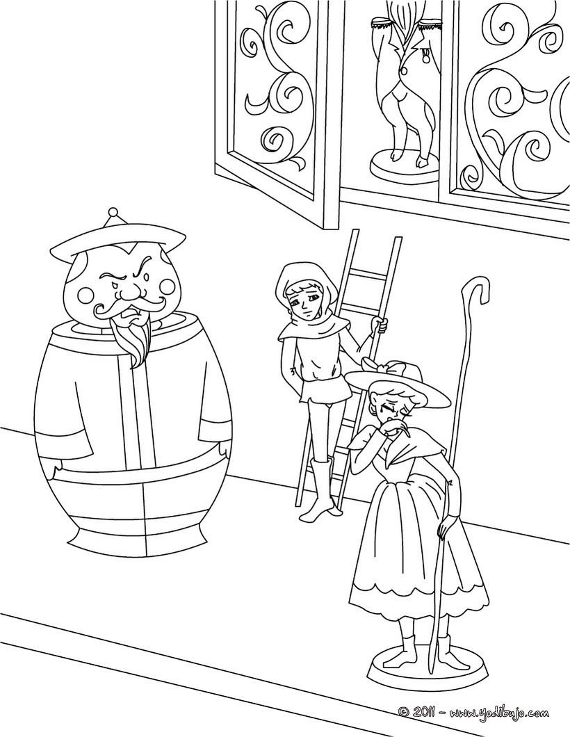 Dibujo para colorear : Cuento La pastora y el deshollinador