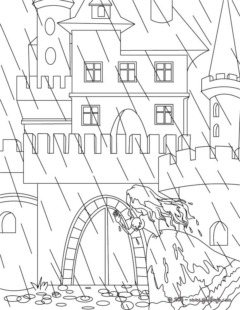 Dibujo para colorear : la princesa y el guisante