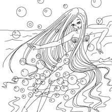 Colorear la sirenita de Andersen - Dibujos para Colorear y Pintar - Dibujos de CUENTOS para colorear - Cuentos de Hans Christian ANDERSEN para colorear