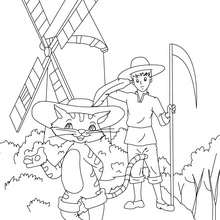 Dibujo para colorear el cuento El Gato con Botas - Dibujos para Colorear y Pintar - Dibujos de CUENTOS para colorear - Cuentos de Charles PERRAULT para colorear
