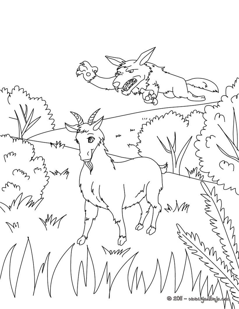 Dibujos para colorear la cabra y el lobo - es.hellokids.com