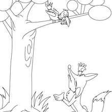 Fabula EL ZORRO Y EL CUERVO para colorear - Dibujos para Colorear y Pintar - Dibujos de CUENTOS para colorear - Cuentos y fábulas de Jean de LA FONTAINE para colorear