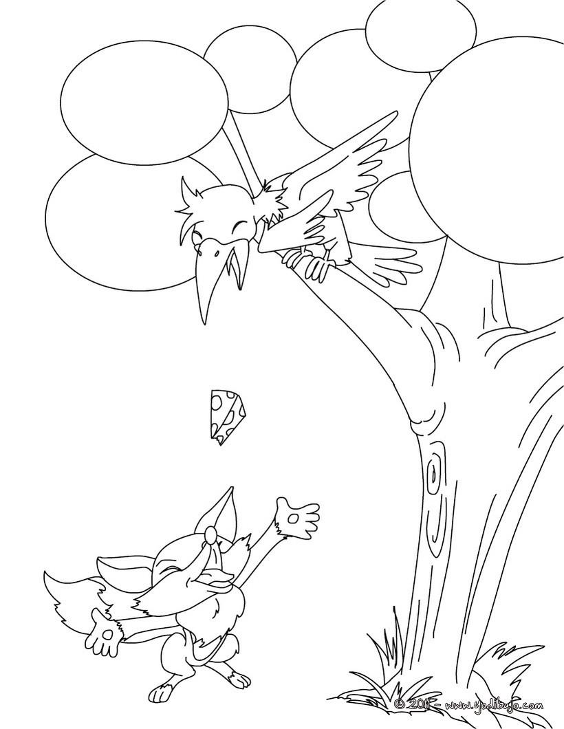 Dibujos Para Colorear Cuento El Zorro Y El Cuervo Es