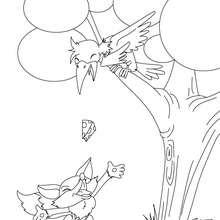 Cuento EL ZORRO Y EL CUERVO para colorear - Dibujos para Colorear y Pintar - Dibujos de CUENTOS para colorear - Cuentos y fábulas de Jean de LA FONTAINE para colorear